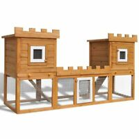 vidaXL Deluxe Rabbit Hutch Wooden Outdoor Pet House Chicken Coop Poultry Cage