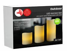 LED Outdoor Kerze mit Timer - 3er Set - flackernde Kerze Garten Deko für Außen