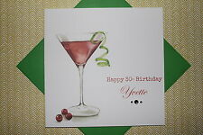 Handmade Personalised Cosmopolitan Cocktail Birthday Card Any Age 18 21 30 40 50