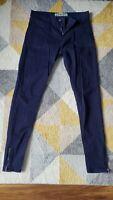 Ladies New Look dark blue cotton super skinny jeans size 12 zip ankle detail