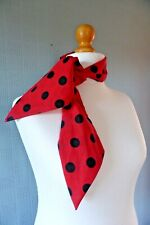Red and black polka dot hair scarf, rockabilly 40s headband, spotted retro scarf