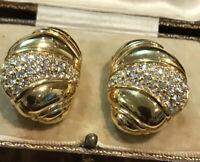 Vintage SAL Swarovski Crystal Gold Tone Clip On Earrings