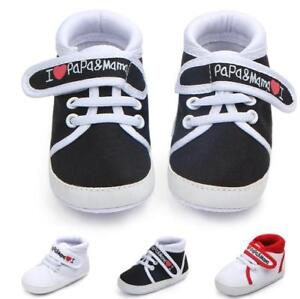 Infant Soft Sole Shoes Newborn Love Papa First Walkers Baby Boys Girls Love Mama