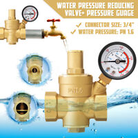 3/4'' Water Pressure Regulator Lead-free Brass Reducer & Gauge  Water Valve