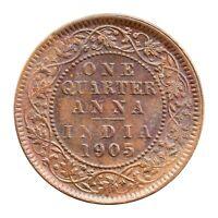 KM# 501 - One Quarter Anna - 1/4 - Edward VII - India 1905 (AU) 'Weak Strike'