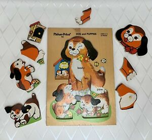 Fisher Price 511 Dog and Puppies Wooden Vintage Puzzle 8pieces Preschool 1973