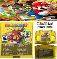 US SHIP 18 in 1 Game Card Mario Party 1 2 3 + 15 Classic NES For Nintendo N64