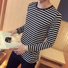 Mens Long Sleeve Crew Neck Stripe Casual Spring Slim Fashion Blouse T-shirt Tops