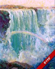 NIAGRA FALLS & RAINBOW LANDSCAPE US CANADA PAINTING ART REAL CANVAS PRINT