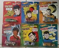 Set of 6 Hot Wheels STAR TREK Real Riders Diecast Vehicles - Spock Kirk Sulu