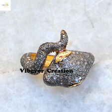 Natural Pave Diamond Snake Ring Gold Plated Jewellery 925 Sterling Silver Ring