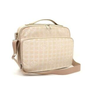 Chanel Very Rare New Line Briefcase Beige Textile/Leather Messenger Bag