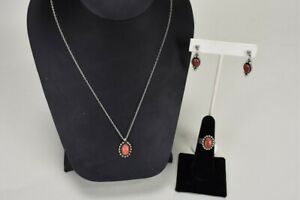 Vtg Sterling Silver 925 and Red Coral Necklace, Ring, and Pierced Earring Set
