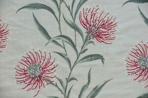 """SANDERSON CURTAIN FABRIC  """"Catherinae Embroidery"""" 2.5 METRES FUCHSIA EMBROIDERED"""