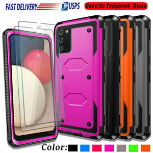 For Samsung Galaxy A02S Phone Case Rugged Dual Layer Armor Cover+Tempered Glass