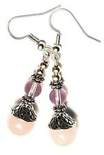 Long Silver Rose Quartz & Glass Bead Earrings Drop Dangle Gemstone Pierced