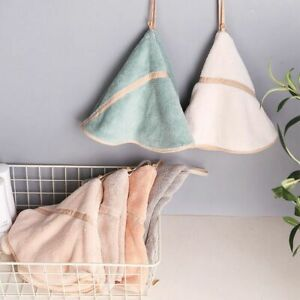 Coral Fleece Bathroom Hanging Hand Towels Thick Dish Cloth Hand Dry Towels Soft