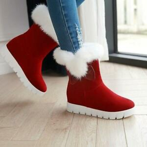 Womens Winter Pull On Furry Lining Round Toe Warm Snow Shoes Mid-Calf Boots CHIC