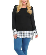 Black Long Tunic Top Size 22 With Plaid Trim
