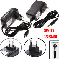 5.5mm x 2.5mm Charger Power Supply DC 5/12V 1/2/3/5A AC 100-240V Power Adapter