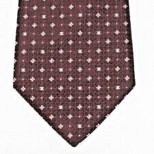 Celine Paris Silk NeckTie Tie Burgundy Pindot Medallion 100% Silk Made in Italy