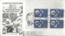 1957 U.N. Fdc - World Meteorological Organization Block Of 4 - Fleetwood Cachet!