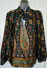 ✿Ladies RIVER ISLAND black mix paisley print pussybow  top blouse size 14✿