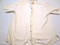 Tommy Bahama Cream Polo Shirt Large Hawaiian Short Sleeve Golf Collar 34
