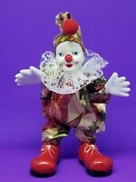 Circus Clown poseable stands 6 inches red white gold