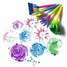 Kids DIY Painting Tools 4PCS Flower Stamp Sponge Brush Set Art Supplies Tool FI