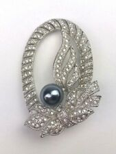 Crystals Silver Color Fashionable Cute Ribbon Brooch Pin Bedazzled With
