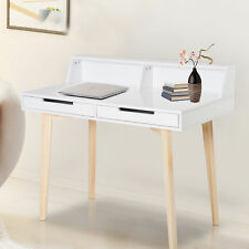 HOMCOM Writing Desk Side Console Table Solid Wood Legs White Home Office Study