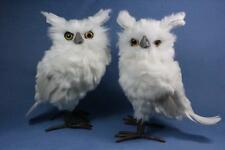 New Lot of 2 Christmas Snow White Owl Statue Figurine Faux Taxidermy Raz Imports
