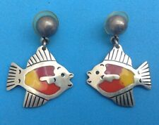 Earrings Whimsical Theme Colorful Inlay Taxco 925 Sterling Silver Enamaled Fish