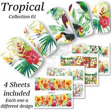4x FULL COVER NAIL ACQUA ADESIVI WRAPS trasferimenti vacanza tropicale fiori bn021