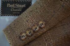 Paul Stuart Classic Mocha Tweed Donegal Pink Plaid Sport Coat Jacket Sz 42S