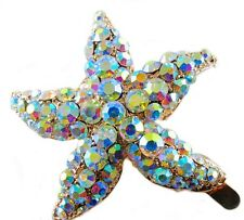 Magnet Hair Clip use Swarovski Crystal Hairpin Starfish Seastar Mermaid Gold AB