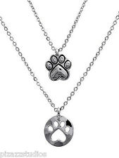 Silver Paw Print Double Layered Charm Necklace Set Dog Pet Animal Jewelry NEW