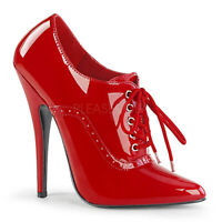 Devious DOMINA-460 Women's Sexy Red Patent High Heel Oxford Lace-up Pump Sandals