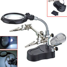 LED 3.5x 12X Helping Hand Magnifying LED Clip Type Soldering IRON STAND Lens New