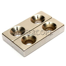 Neodymium Magnet 30x10x5 mm N45 Super Block Magnet Strong cuboid Double Hole