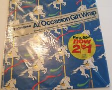 Vintage  Carousel Horse Gift Wrap Wrapping Paper Gift Center  - 2 Sheets NIP