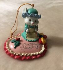 """Lustre Fame 1993 Heart-shaped Embroidery """"CHRISTMAS Blessing"""" Ornament"""