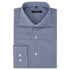 vidaXL Men's Business Shirt Work Social Formal White and Navy Check Size XL