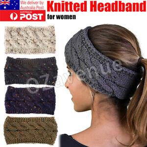 Fashion Women Winter Warm Beanie Headband Skiing Knitted Cap Ear Warmer Band AU