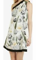 Pretty TED BAKER Roxanie Black Yellow Floral One Shoulder Dress Size 3 UK 12