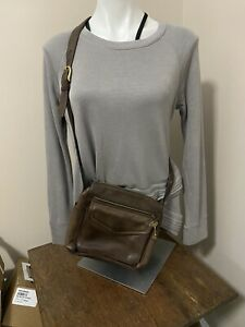 Fossil 1954  Leather Organizer Multi Pocket Crossbody Shoulder Bag Purse