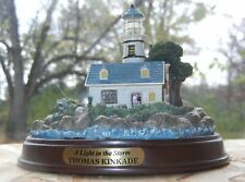 """""""A Light In The Storm"""" Lighted Lighthouse Mounted On Wood Base Thomas Kinkade"""