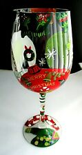 "GLASS ~ DECORATED COCKTAIL HAPPY HOLIDAYS HAND PAINTED ~9"" TALL DINING BAR"