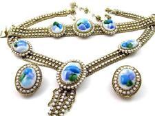 Vintage HOBE White Blue  ART GLASS Rhinestone Necklace Bracelet & Earrings SET